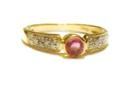 14K Yellow Gold Diamond & Pink Topaz Round Ring, Size 7, 0.63(TCW), 2.2GR - $166.50