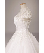 lace wedding dress with short sleeves see through corset ball gowns dresses  - $249.00