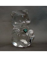 Fenton Clear Crystal May Emerald Heart  Birthday Bear Figurine/Paperweig... - $7.99
