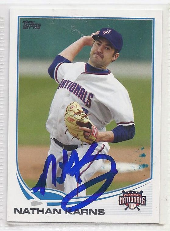 Nathan Karns Signed Autographed Card 2013 Topps Pro Debut