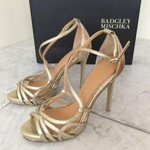 Badgley Mischka Mega Platino Metallic Leather Women's Heels Sandals 5.5 M - $222.75