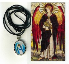 Necklace - San Uriel Arcangel Medal & Holy Card - $3.99