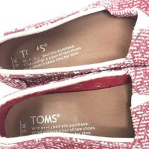 Toms Womens Size 5 Slip On Casual Sneakers Red White Fabric Woven Flats image 6