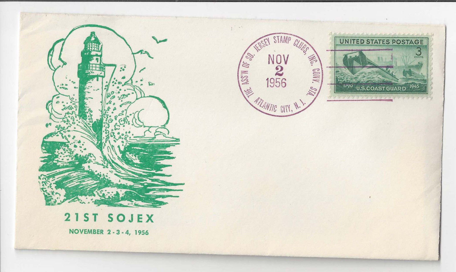 Primary image for SOJEX 21st Stamp Exhibition 1956 Absecon Lighthouse Cachet South Jersey