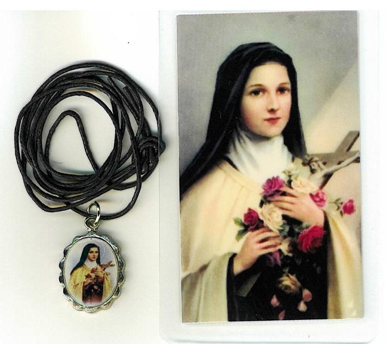 Necklace   santa teresita medal   holy card h125.1092ja 001