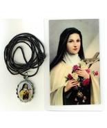 Necklace - Santa Teresita Medal & Holy Card - L H125.1092JA - $6.99