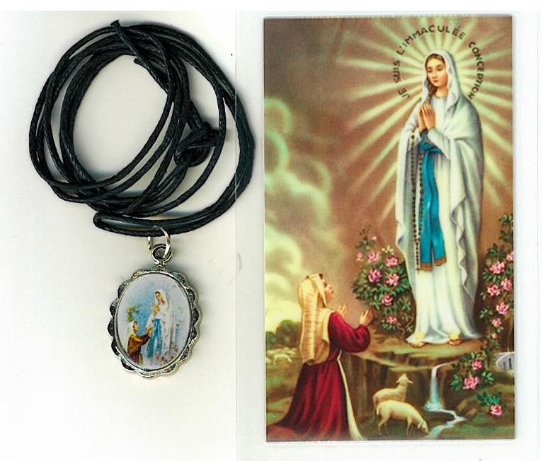 Necklace   virgen de lourdes medal   holy card h125.1092j 001