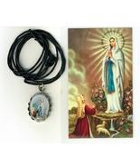 Necklace - Virgen de Lourdes Medal & Holy Card - LH125.1092J - $6.99