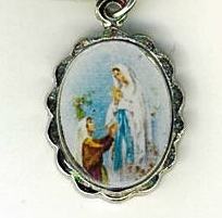 Necklace - Virgen de Lourdes Medal & Holy Card - LH125.1092J