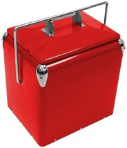 RETRO RED COOLER ICE CHEST Thick Durable BBQ Picnic Tailgate Beach Trave... - €78,91 EUR