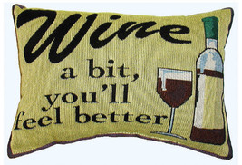 "Wine A Bit 8"" x 12"" Message Pillow - £24.32 GBP"