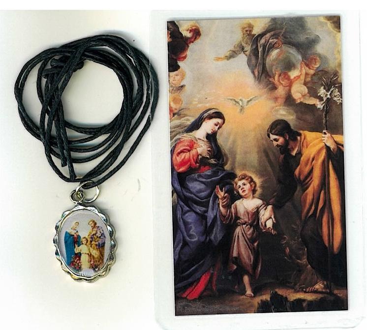 Necklace   sagrada familia medal   holy card h125.1092fa 001