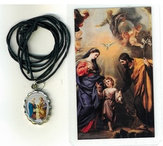 Necklace - Sagrada Familia Medal & Holy Card - LH125.1092FA - $6.99
