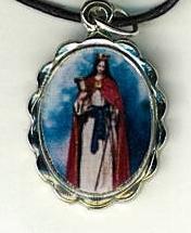 Necklace - Santa Barbara Medal & Holy Card - LH125.1092F