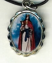Necklace - Santa Barbara Medal & Holy Card - LH125.1092F image 2