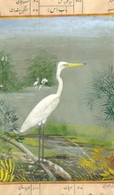 India Miniature Painting Handmade Painted Egret Bird Watercolor Wild Lif... - $104.99