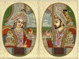 Moghul Empire Art Shah Jahan Mumtaz Mahal Handmade Mughal Miniature Pain... - $529.99