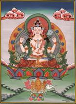 Chenrezig Shadakshari Lokeshvara Buddha Painting Tibetan Thangka Handmad... - $154.99