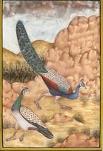 Peafowl Peacock Indian Art Handmade Bird Nature Miniature Painting on La... - $119.99