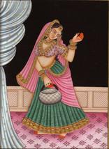 Indian Miniature Painting Rajasthani Beauty Nayika Damsel HANDMADE Embos... - $114.99