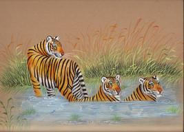 Royal Bengal Tiger Art Hand Painted Indian Wild Life Nature Watercolor P... - $104.99