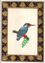 Indian Kingfisher BIRD Miniature Painting Handmade Watercolor Paper Ethn... - $59.99