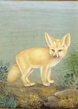 Indian Miniature Painting Handmade Fennec Fox Animal Watercolor Wild Lif... - $89.99