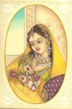 Indian Miniature Painting Kashmir Lady Handmade Watercolor Portrait Ethn... - $129.99