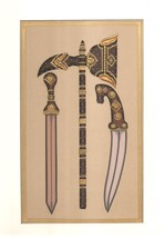 Indo Islamic Arms Painting Handmade Decorated Dagger Axe Sword Mughal We... - $74.99