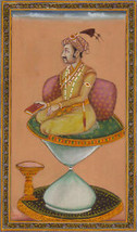 Mughal Miniature Painting Hand Painted Emperor Jahangir Watercolor Moghu... - $79.98