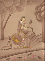Asavari Ragini Miniature Painting Indian Rajasthani Ethnic Handmade Raga... - $114.99