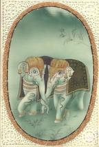 Indian Miniature Painting Handmade Elephant Pair Watercolor Ethnic Decor... - $94.99