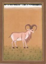 Indian Ram Animal Painting Handmade Watercolor Nature Wild Life Miniatur... - $79.98