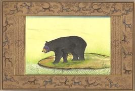 Indian Miniature Art Handmade Wild Life Nature Black Bear Watercolor Pai... - $79.99