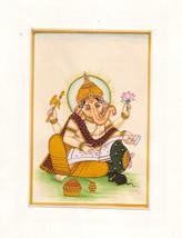 Ganesh Art Handmade Hindu Religion Ganpati Ganesha Ethnic Watercolor Pai... - $79.99