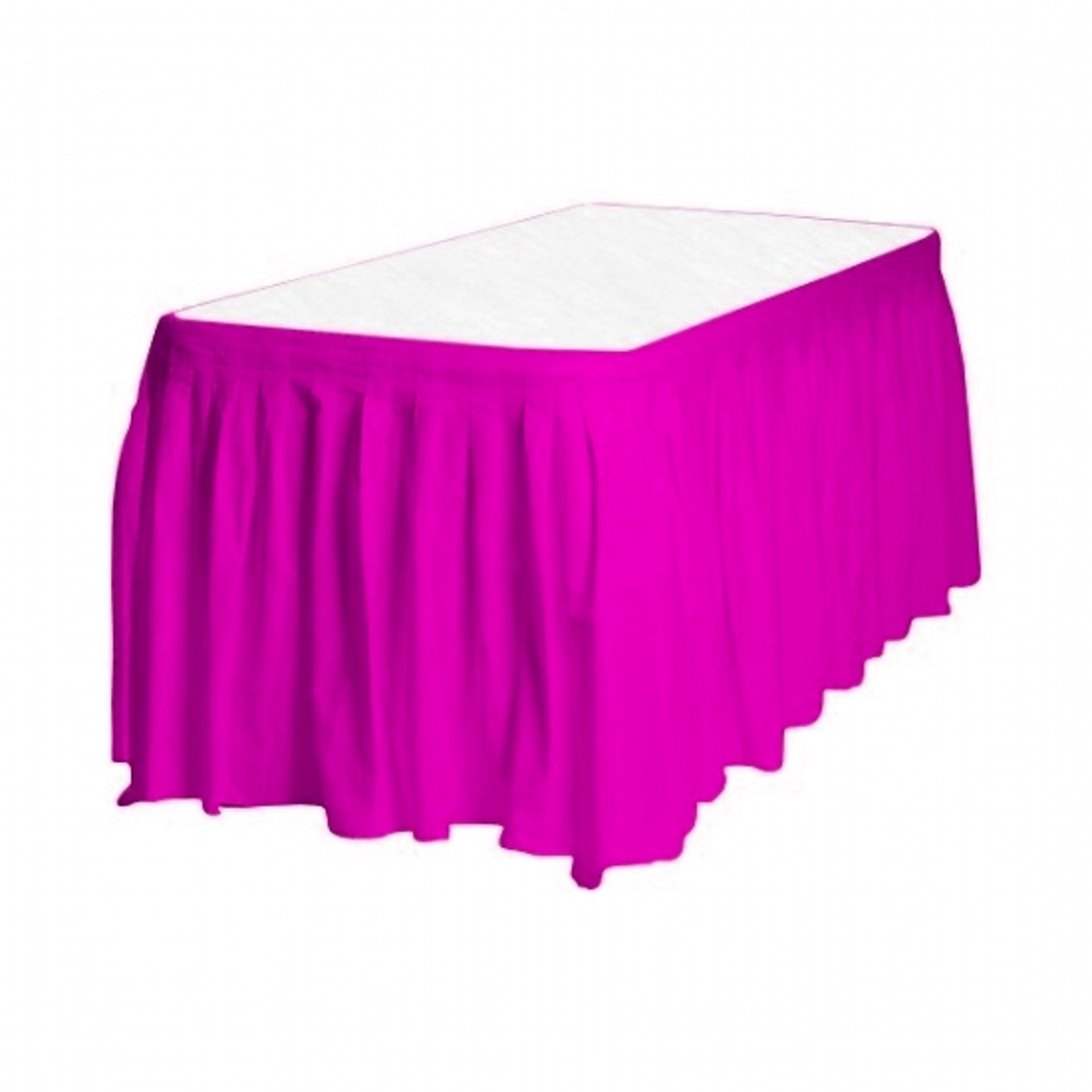 Touch of Color Easy Stick Plastic Table Skirt, 14-Feet, hot pink magenta