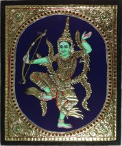 Tanjore Indonesian Rama Painting Handmade South Indian Thanjavur Gold Re... - $234.99