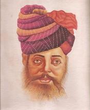 Rajasthani Miniature Painting Handmade Indian Rajput Turban Pagri Portra... - $69.98