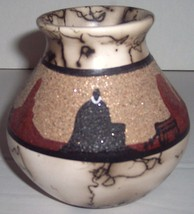 Navajo Horse Hair Vase with Sand Design Collectible Vase Signed Elsie - $250.00