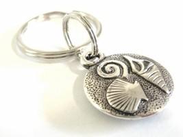 Ocean Sea Shell Pendant Beach Theme Key Chain or Zipper Pull Charm - $10.50