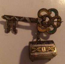 Vintage Spain Damascene Key Hanging Box Pin Brooch - $36.72