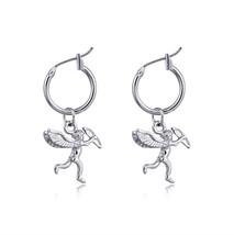 1 Pair European New Trend  Small Cute Cupid Love Earrings With Pendant Gold Colo - $7.27