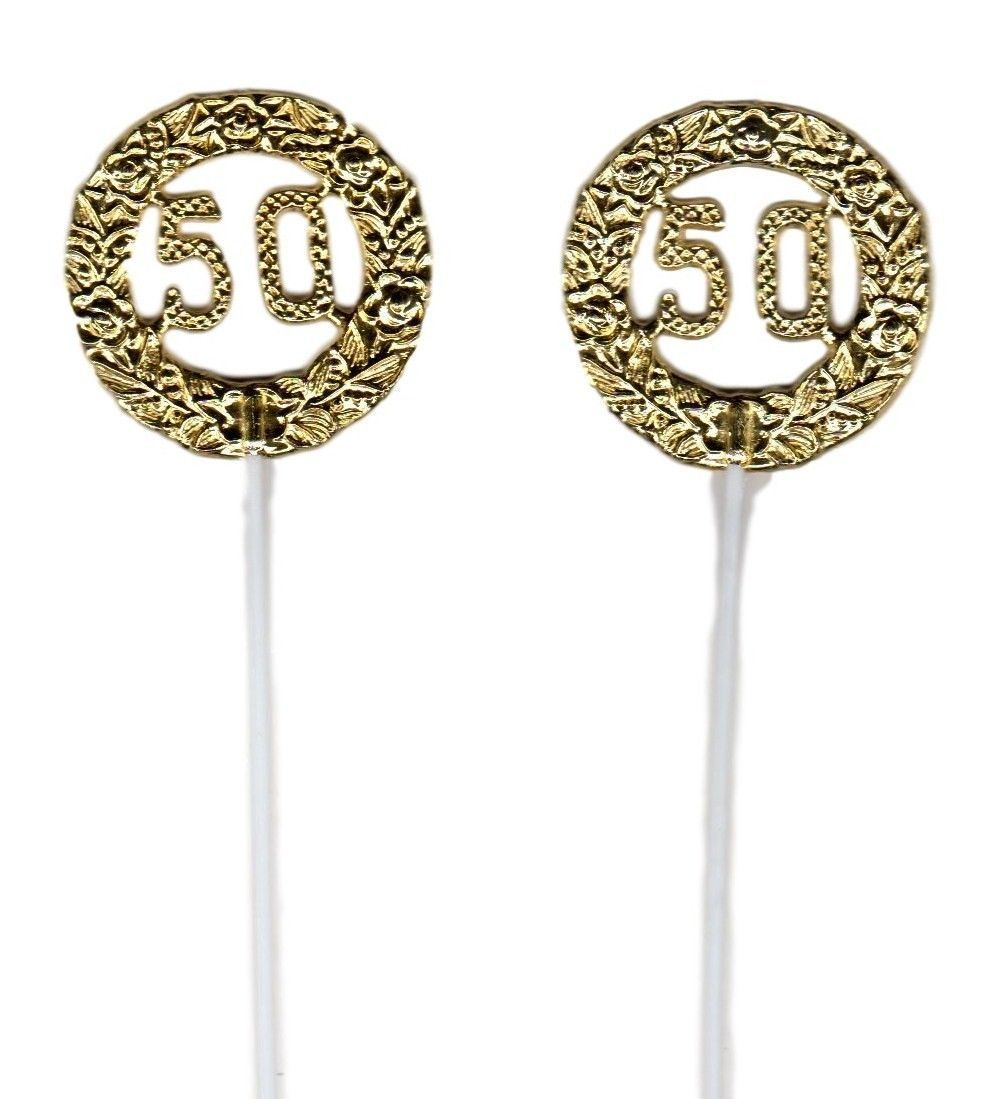 "Primary image for Gold 50th Anniversary Birthday plastic picks  2.5"" dia. 12"" long - 12 pcs"