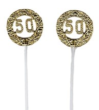 "Gold 50th Anniversary Birthday plastic picks  2.5"" dia. 12"" long - 12 pcs - $6.92"