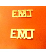 "EMT Collar Pin Set Gold 3/8"" Cut Out Letters Em... - $12.57"