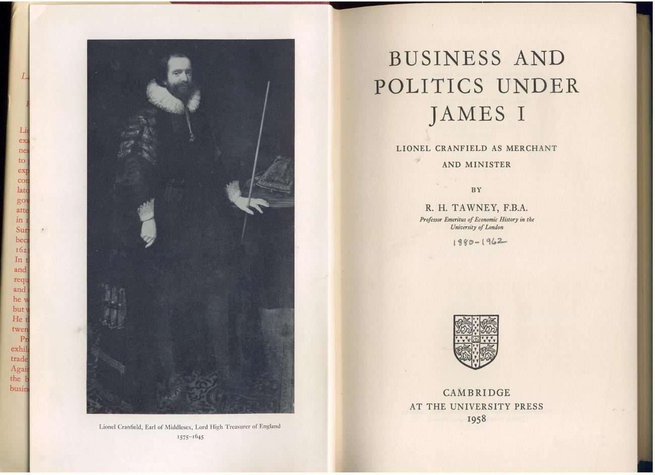 Tawney  BUSINESS & POLITICS UNDER JAMES I  1958  1st in dj