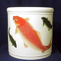 Beautiful Large Porcelain Brush Vase with Fishes - One Only! - $134.96