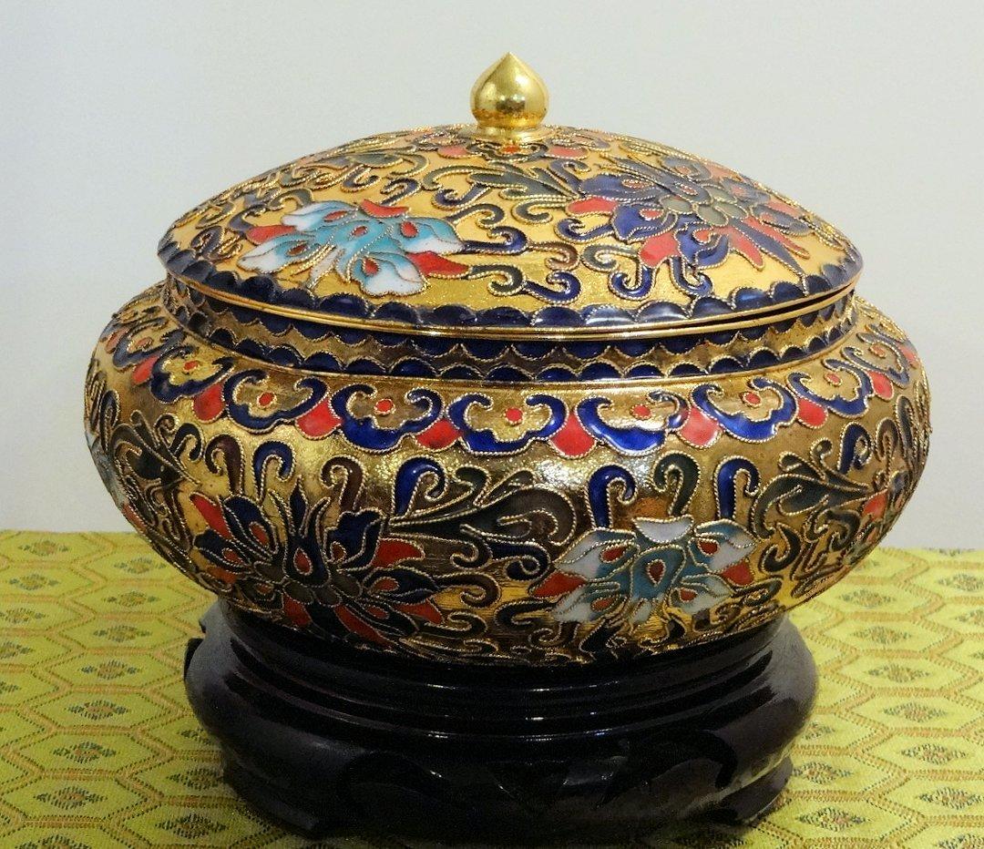 Cloisonne Gold Vase with Blue Interior - $62.96