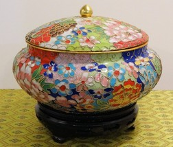 Cloisonne Red, White and Blue Vase with Flowers and Blue Interior - $62.96
