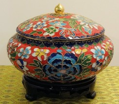 Cloisonne Red Vase with Blue Flowers and Interior - $62.96